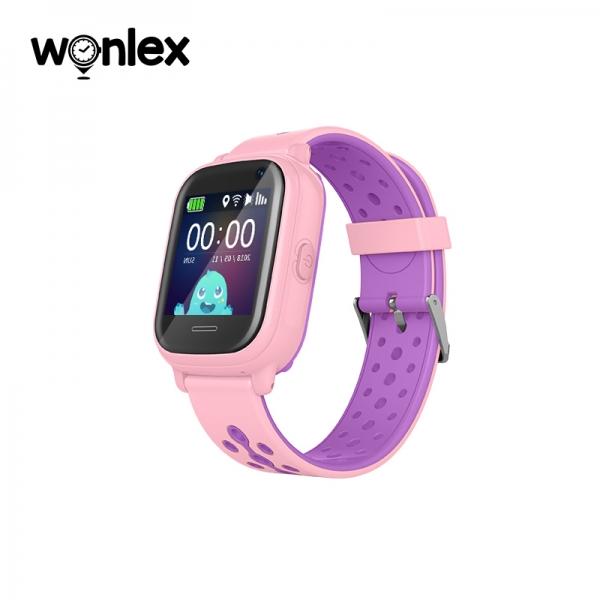 Ceas Inteligent cu GPS pentru copii WONLEX KT04 Roz, rezistent la apa, localizare WiFI si monitorizare spion 0