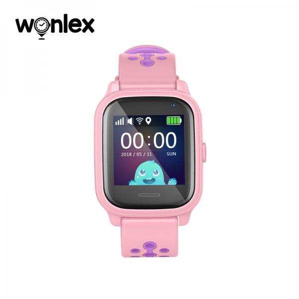 Ceas Inteligent cu GPS pentru copii WONLEX KT04 Roz, rezistent la apa, localizare WiFI si monitorizare spion 1