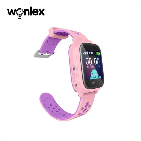 Ceas Inteligent cu GPS pentru copii WONLEX KT04 Roz, rezistent la apa, localizare WiFI si monitorizare spion 2