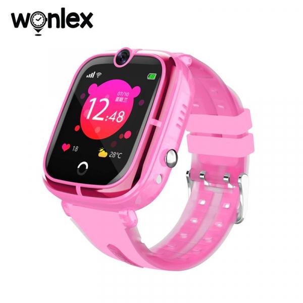 Ceas Inteligent cu GPS pentru copii WONLEX KT07 Roz, rezistent la apa, localizare WiFI si monitorizare spion [5]