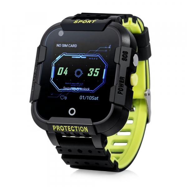 Ceas Inteligent cu GPS pentru copii WONLEX KT12 4G Negru, apelare video, rezistent la apa, localizare WiFI si monitorizare spion [0]