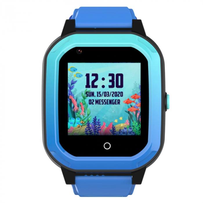 Ceas Inteligent cu GPS pentru copii WONLEX KT20 4G Albastru, apelare video, rezistent la apa, localizare WiFI si monitorizare spion [0]