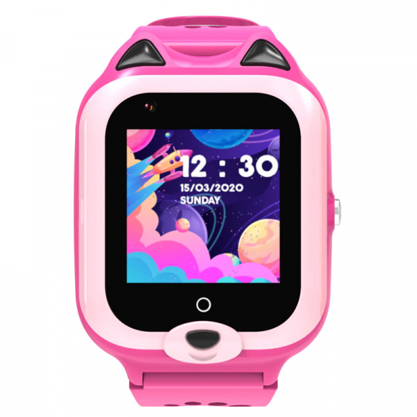 Ceas Inteligent cu GPS pentru copii WONLEX KT22 4G Roz, apelare video, rezistent la apa, localizare WiFI si monitorizare spion 0