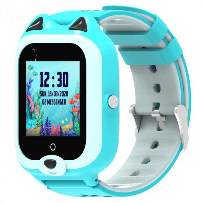 Ceas Inteligent cu GPS pentru copii WONLEX KT22 4G Albastru, apelare video, rezistent la apa, localizare WiFI si monitorizare spion [3]