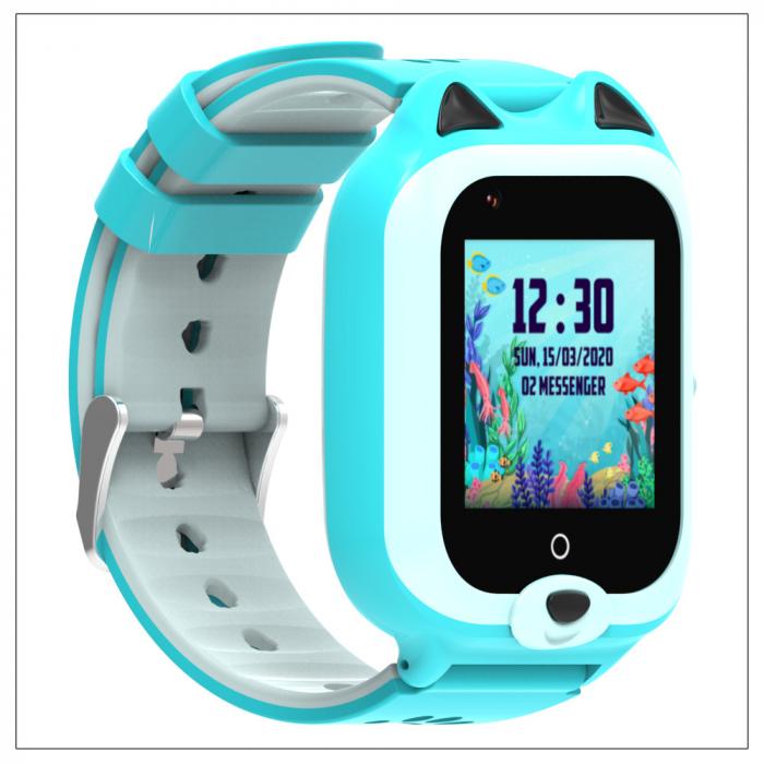 Ceas Inteligent cu GPS pentru copii WONLEX KT22 4G Albastru, apelare video, rezistent la apa, localizare WiFI si monitorizare spion [4]