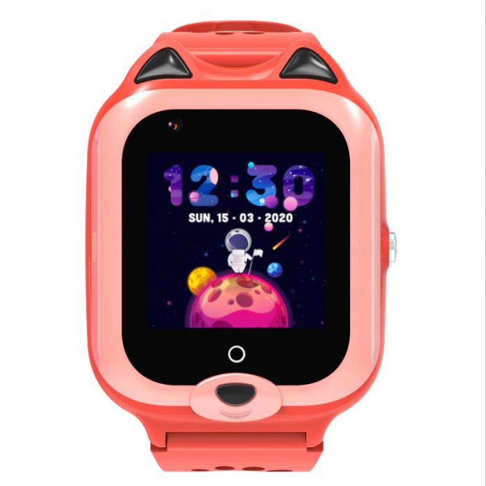 Ceas Inteligent cu GPS pentru copii WONLEX KT22 4G Portocaliu, apelare video, rezistent la apa, localizare WiFI si monitorizare spion [0]