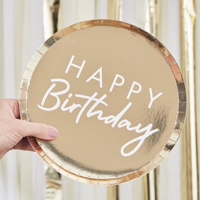 Farfurii aurii Happy Birthday [1]