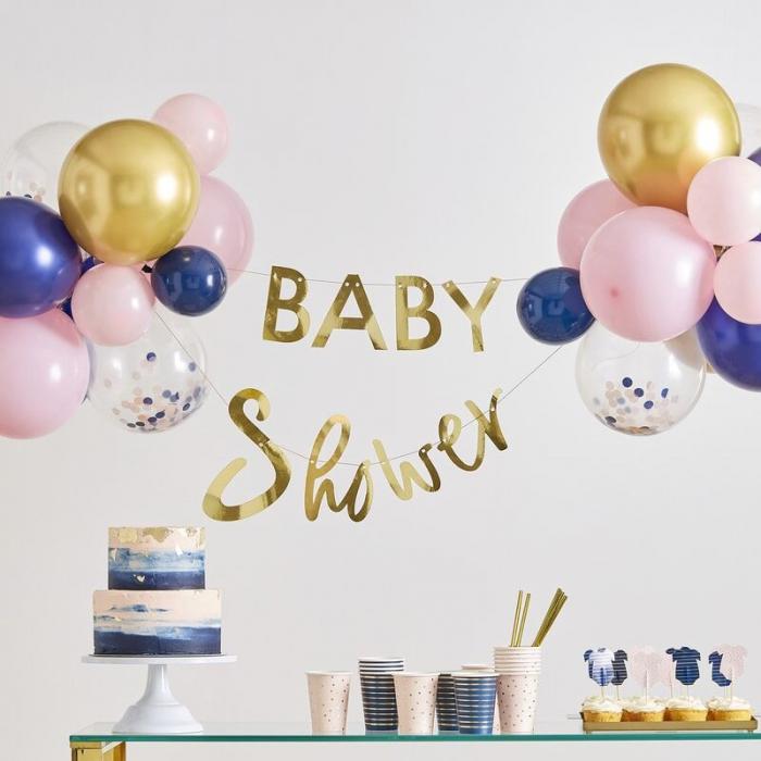 Servetele Baby Shower roz si albastre cu insertii aurii [2]