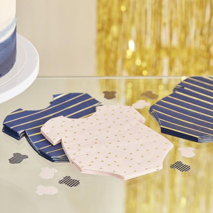 Servetele Baby Shower roz si albastre cu insertii aurii [0]