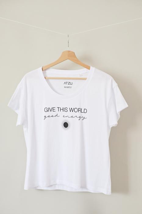 Tricou dama alb din bumbac organic Give this world good energy [1]