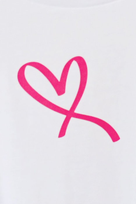 Tricou dama alb din bumbac organic inima roz [1]