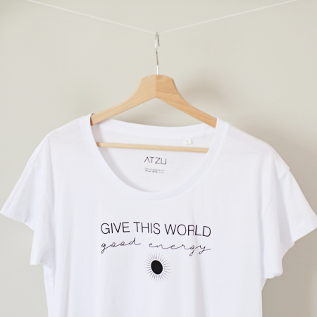 Tricou dama alb din bumbac organic Give this world good energy [0]