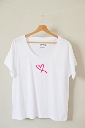 Tricou dama alb din bumbac organic inima roz [0]