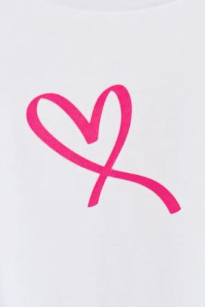 Tricou alb copil din bumbac organic inima roz [0]