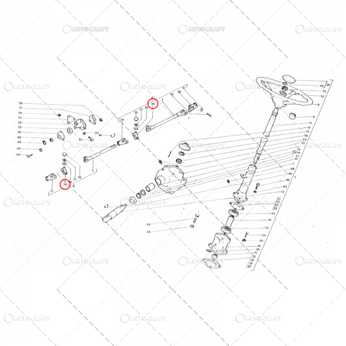 CRUCE VOLAN 25X58 UTB TRACTOR U650 31.34.142 0