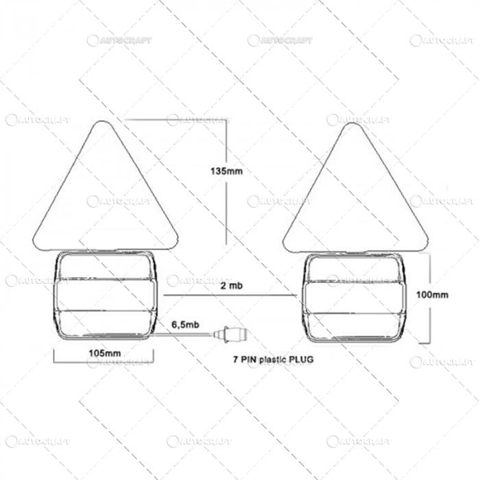 SET LAMPI SPATE COMBINATE CU TRIUNGHI PRINDERE MAGNET, CU CABLU DE 7.5 m 2
