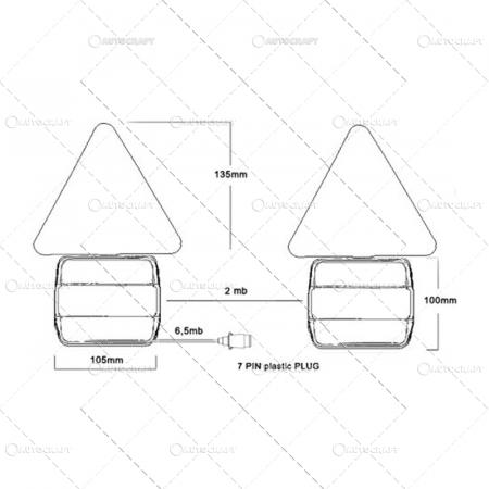 SET LAMPI SPATE COMBINATE CU TRIUNGHI PRINDERE MAGNET, CU CABLU DE 7.5 m2