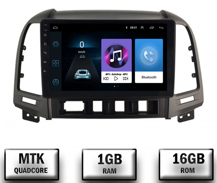 Navigatie Hyundai Santa Fe Android 1+16GB   AutoDrop.ro 0