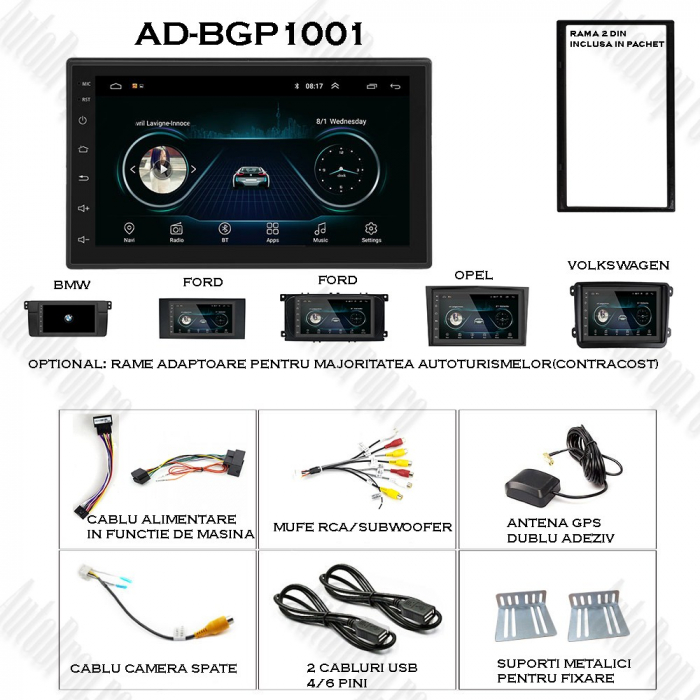 Navigatie Auto All-in-One 2DIN, Android 9.1 - AD-BGP1001 1