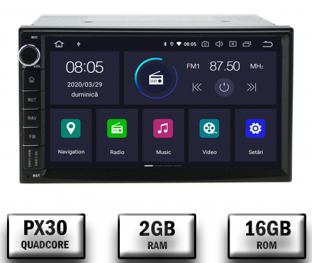 Navigatie All-in-One, Android 10, Quadcore|PX30| / 2GB RAM + 16GB ROM, 7 Inch - AD-BGW2GB16ROM7P30