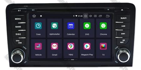 Navigatie Audi A3, Android 9, OCTACORE|PX5| / 4GB RAM cu 64GB ROM cu DVD , 7 Inch - AD-BGWAUDIA3P52