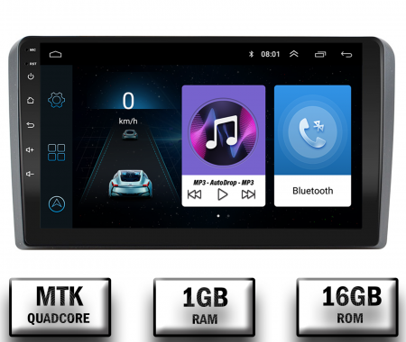 Navigatie Audi A3/ S3/ RS3, Android 9.1, QUADCORE|MTK| / 1GB RAM + 16 ROM, 9 Inch - AD-BGPAUDIA31GB0