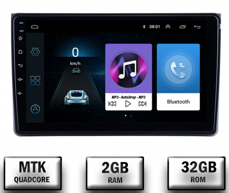 Navigatie Audi A4(B6/B7) / Seat Exeo, Android 9.1, QUADCORE|MTK| / 2GB RAM + 32 ROM, 9 Inch - AD-BGPAUDIA42GB0