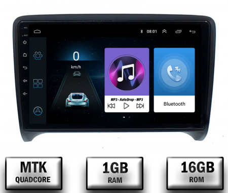 Navigatie Audi TT, Android 9.1, QUADCORE|MTK| / 1GB RAM + 16 ROM, 9 Inch - AD-BGPAUDITTMTK0
