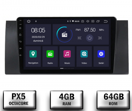 Navigatie BMW E39/E53, Android 10, Octacore|PX5|/ 4GB RAM + 64GB ROM, 9 Inch - AD-BGWBMWE399P50