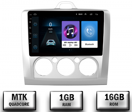 Navigatie Ford Focus MK2 2004-2011 Clima Manuala, Android 9.1, QUADCORE|MTK| / 1GB RAM + 16 ROM, 9 Inch - AD-BGPFORDFMAC1GB0