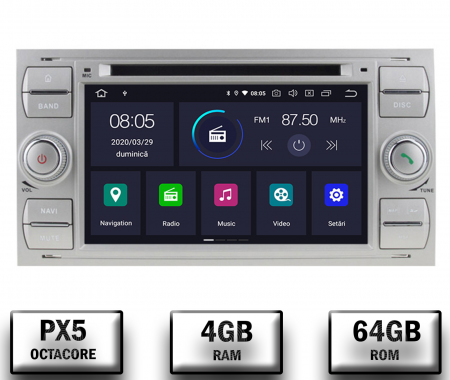 NAVIGATIE FORD FOCUS/MONDEO/S-MAX/Transit/Tourneo, ANDROID 10, Octacore|PX5| / 4GB RAM + 64GB ROM CU DVD, 7 INCH - AD-BGWFORDD7P5-S0