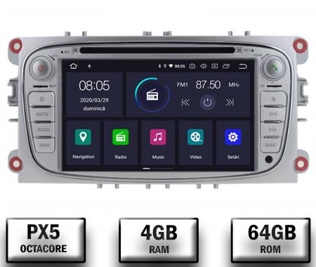 NAVIGATIE FORD FOCUS/MONDEO/S-MAX/Transit/Tourneo, ANDROID 10, Octacore|PX5| / 4GB RAM + 64GB ROM CU DVD, 7 INCH - AD-BGWFORDO7P5-S0