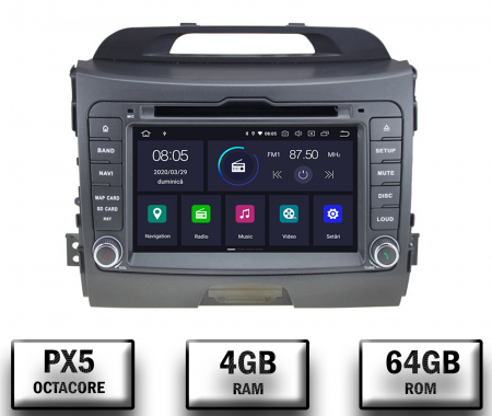 NAVIGATIE Kia Sportage 2010-2012, ANDROID 10, Octacore|PX5|/ 4GB RAM + 64GB ROM cu DVD, 7 Inch - AD-BGWKIASA1P50