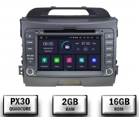 NAVIGATIE Kia Sportage 2010-2012, ANDROID 10, Quadcore|PX30|/ 2GB RAM + 16GB ROM cu DVD, 7 Inch - AD-BGWKIASA1P30