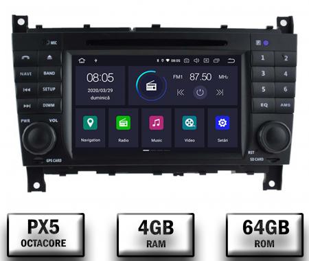 Navigatie Mercedes Benz C-Class W203 / CLC, Android 10, Octacore|PX5|/ 4GB RAM + 64GB ROM cu DVD, 7 Inch - AD-BGWMBCCM7P50