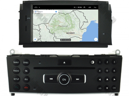 Navigatie Mercedes Benz C-Class W204 2007-2011, Android 9, Quadcore|PX30|/ 2GB RAM + 16GB ROM cu DVD, 7 Inch - AD-BGWMBW204P318