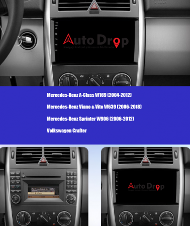 Navigatie Mercedes Benz Sprinter, Viano, Vito, A/B Class, Crafter, Android 9.1, QUADCORE|MTK| / 1GB RAM + 16 ROM, 9 Inch - AD-BGPMBSPR9MTK1GB15