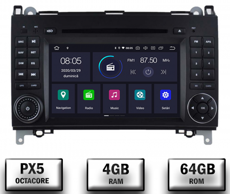 Navigatie Mercedes Benz/VW A/B-Class Vito Viano Sprinter Crafter, Android 10, Octacore|PX5|/ 4GB RAM + 64GB ROM cu DVD, 7 Inch - AD-BGWMBSPR7P50