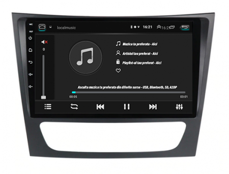 Navigatie Mercedes Benz W211/CLS, QUADCORE|MTK| / 1GB RAM + 16 ROM, 9 Inch - AD-BGPW211MTK5
