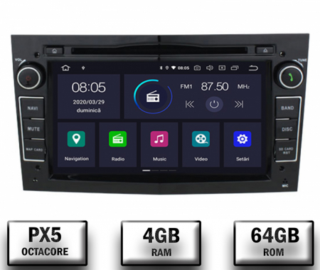 Navigatie Opel, Android 10, Octacore|PX5|/ 4GB RAM si 64GB ROM cu DVD, 7 Inch - AD-BGWOPL7P5-B0