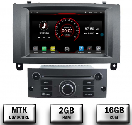 Navigatie Peugeot 407, Android 10, Quadcore|MTK|/ 2GB RAM + 16GB ROM cu DVD, 7 Inch - AD-BGWPGT407MTK-S0