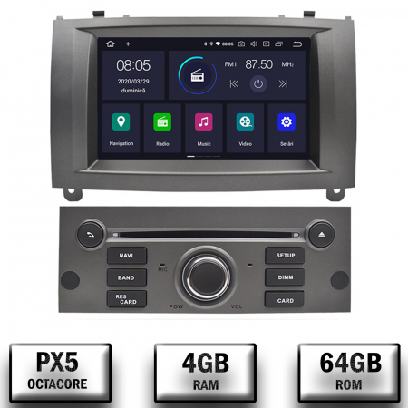 NAVIGATIE PEUGEOT 407, ANDROID 9, Octacore|PX5|/ 4GB RAM + 64GB ROM CU DVD, 7 INCH - AD-BGWPGT407P5-S0
