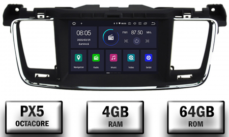 Navigatie Peugeot 508, Android 9, Octacore|PX5|/ 4GB RAM + 64GB ROM cu DVD, 7 Inch - AD-BGWPGT508P50