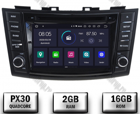 NAVIGATIE Suzuki Swift 2011+, ANDROID 9, Quadcore|PX30|/ 2GB RAM + 16GB ROM cu DVD, 7 Inch - AD-BGWSW1115P30