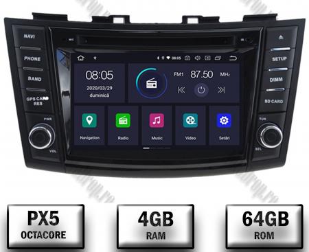 NAVIGATIE Suzuki Swift 2011+, ANDROID 9, Octacore|PX5|/ 4GB RAM + 64GB ROM cu DVD, 7 Inch - AD-BGWSW1115P50