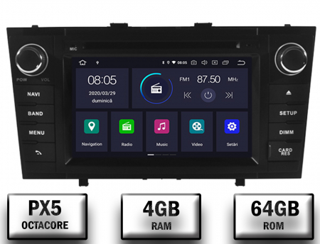 NAVIGATIE TOYOTA AVENSIS (2008-2013), ANDROID 10, Octacore|PX5|/ 4GB RAM + 64GB ROM cu DVD, 7 Inch - AD-BGWAVS2P5-B0