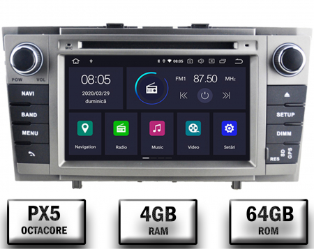 NAVIGATIE TOYOTA AVENSIS (2008-2013), ANDROID 9, Octacore|PX5|/ 4GB RAM + 64GB ROM cu DVD, 7 Inch - AD-BGWAVS2P5-S0