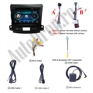 Navigatie Mitstubishi Outlander / Peugeot 4007 / Citroen C-Crosser, Android 9.1, QUADCORE|MTK| / 2GB RAM + 32 ROM, 9 Inch - AD-BGPOUTLANDER9MTK2GB15