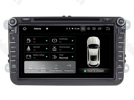 Navigatie Volkswagen, Skoda, Seat, Android 10, OCTACORE|PX5| / 4GB RAM + 64 ROM cu DVD, 8 Inch -  AD-BGWVW8P510