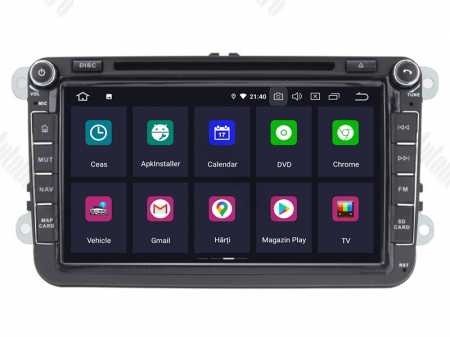 Navigatie Volkswagen, Skoda, Seat, Android 10, OCTACORE|PX5| / 4GB RAM + 64 ROM cu DVD, 8 Inch -  AD-BGWVW8P51